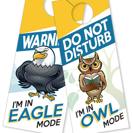 Our Eagle and Owl DISC Birds Door Hangers will convey your mode without any extra effort on your part.